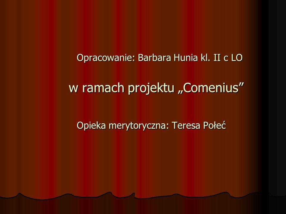 Opracowanie: Barbara Hunia kl. II c LO Opracowanie: Barbara Hunia kl. II c LO w ramach projektu Comenius w ramach projektu Comenius Opieka merytoryczn