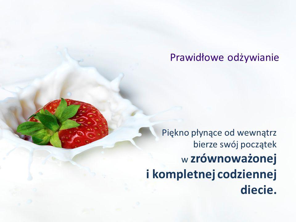 Prawidłowe odżywianie Piękno płynące od wewnątrz bierze swój początek w zrównoważonej i kompletnej codziennej diecie.
