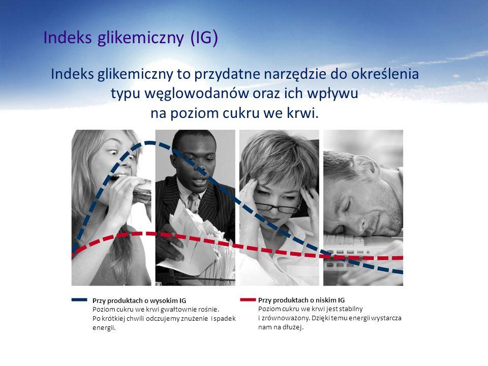 Indeks glikemiczny (IG ) Indeks glikemiczny to przydatne narzędzie do określenia typu węglowodanów oraz ich wpływu na poziom cukru we krwi. Przy produ