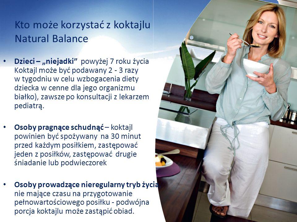 Kto może korzystać z koktajlu Natural Balance Dzieci – niejadki powyżej 7 roku życia Koktajl może być podawany 2 - 3 razy w tygodniu w celu wzbogaceni