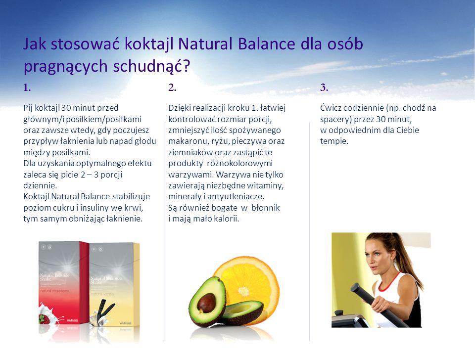 Jak stosować koktajl Natural Balance dla osób pragnących schudnąć? 1. Pij koktajl 30 minut przed głównym/i posiłkiem/posiłkami oraz zawsze wtedy, gdy