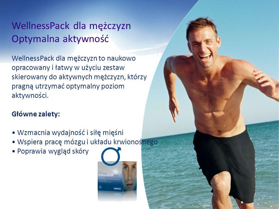 Optymalna aktywność WellnessPack dla mężczyzn to naukowo opracowany i łatwy w użyciu zestaw skierowany do aktywnych mężczyzn, którzy pragną utrzymać o
