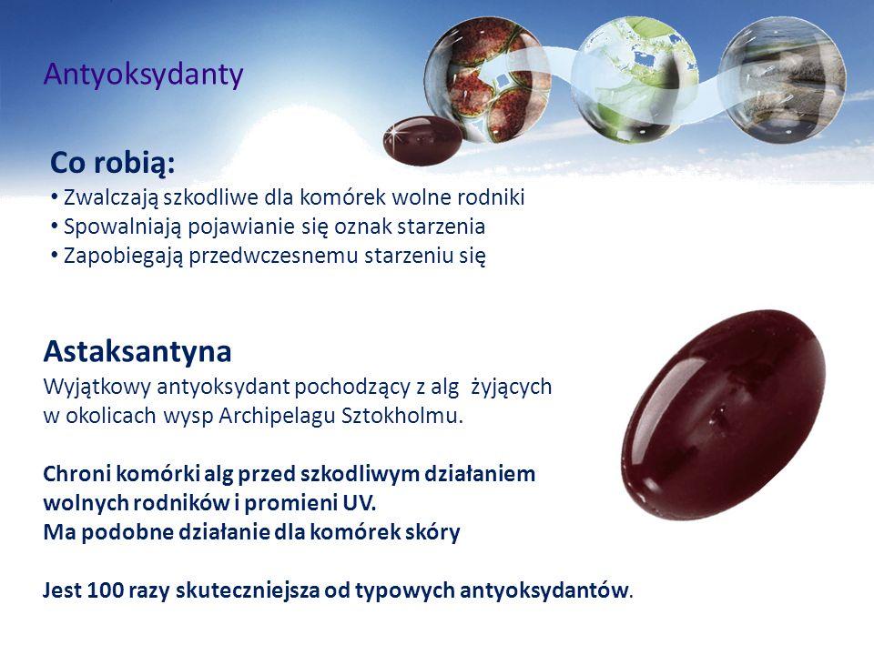 Antyoksydanty Astaksantyna Wyjątkowy antyoksydant pochodzący z alg żyjących w okolicach wysp Archipelagu Sztokholmu. Chroni komórki alg przed szkodliw
