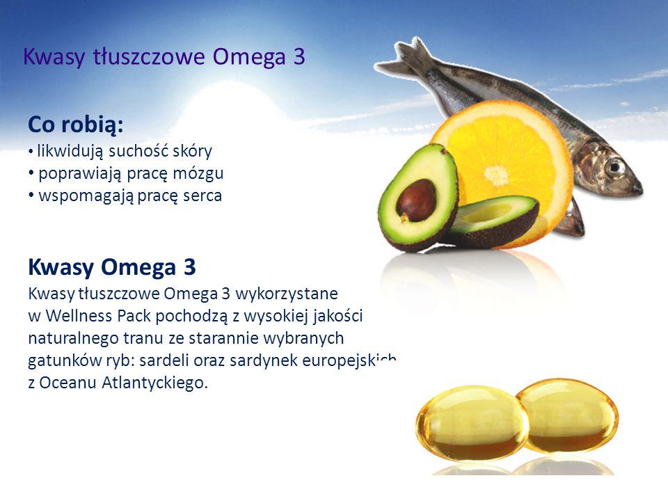 Kwasy tłuszczowe Omega 3 Co robią: likwidują suchość skóry poprawiają pracę mózgu wspomagają pracę serca Kwasy Omega 3 Kwasy tłuszczowe Omega 3 wykorz