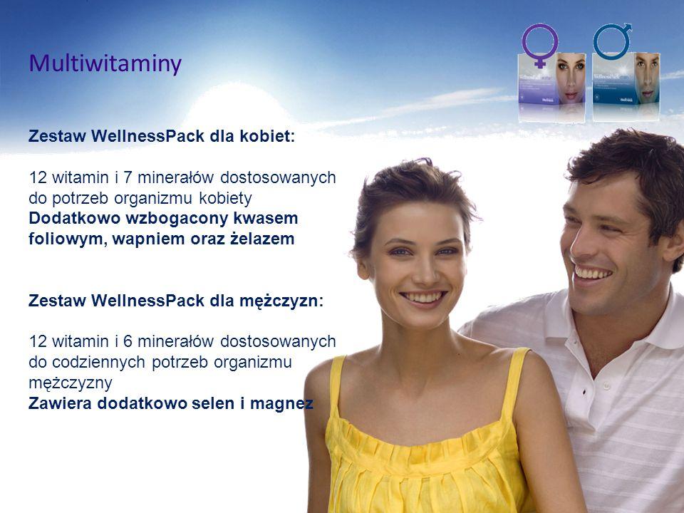 Multiwitaminy Zestaw WellnessPack dla kobiet: 12 witamin i 7 minerałów dostosowanych do potrzeb organizmu kobiety Dodatkowo wzbogacony kwasem foliowym
