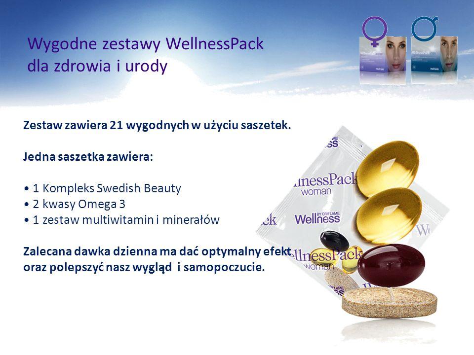 dla zdrowia i urody Zestaw zawiera 21 wygodnych w użyciu saszetek. Jedna saszetka zawiera: 1 Kompleks Swedish Beauty 2 kwasy Omega 3 1 zestaw multiwit
