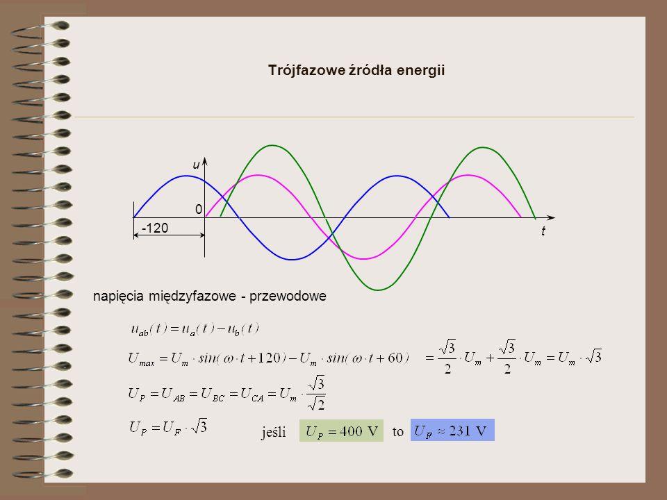 Trójfazowe źródła energii u t 0 -120 napięcia międzyfazowe - przewodowe jeśli V to V