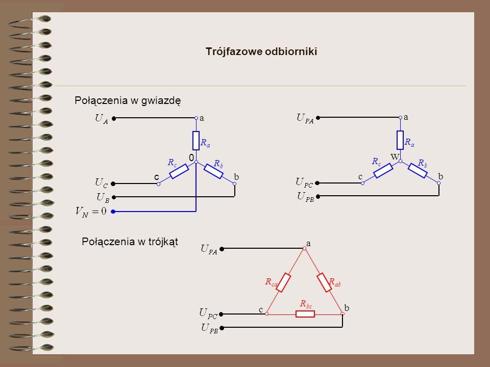Trójfazowe odbiorniki Połączenia w gwiazdę RaRa a c b RbRb RcRc W RaRa a c b RbRb RcRc 0 a c b R ca R bc R ab Połączenia w trójkąt