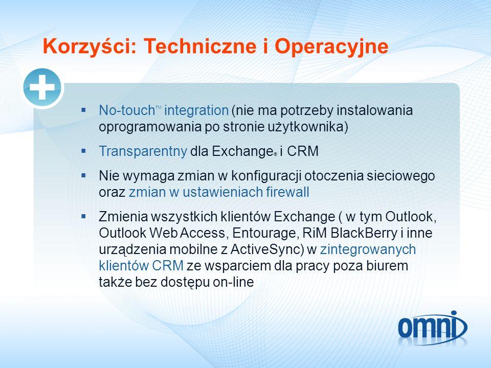 Korzyści: Techniczne i Operacyjne No-touch TM integration (nie ma potrzeby instalowania oprogramowania po stronie użytkownika) Transparentny dla Excha