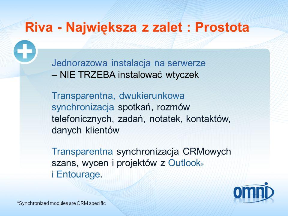 Riva - Największa z zalet : Prostota Jednorazowa instalacja na serwerze – NIE TRZEBA instalować wtyczek Transparentna, dwukierunkowa synchronizacja sp