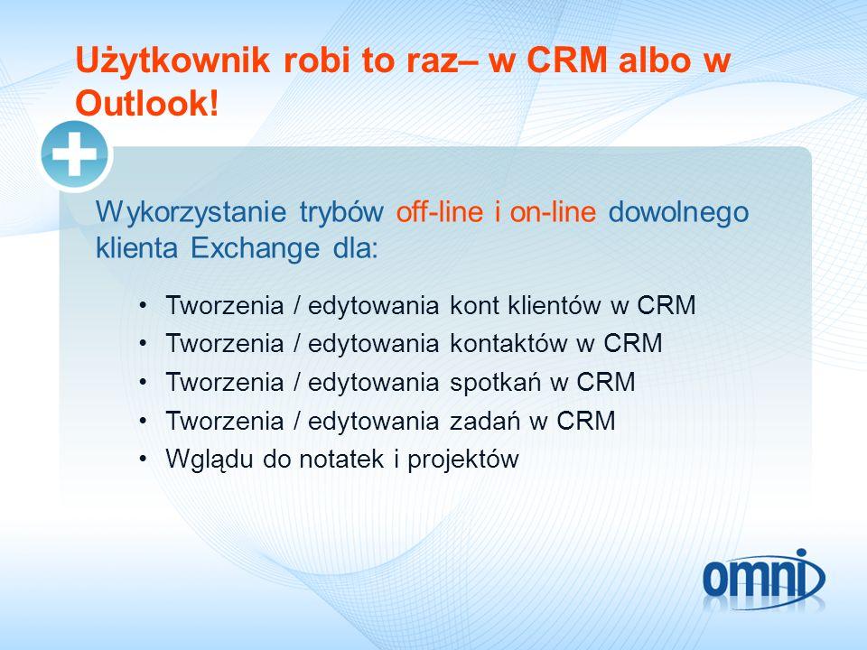 Użytkownik robi to raz– w CRM albo w Outlook! Wykorzystanie trybów off-line i on-line dowolnego klienta Exchange dla: Tworzenia / edytowania kont klie