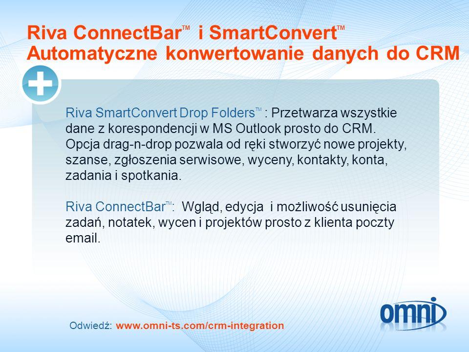 Riva ConnectBar TM i SmartConvert TM Automatyczne konwertowanie danych do CRM Riva SmartConvert Drop Folders TM : Przetwarza wszystkie dane z korespon