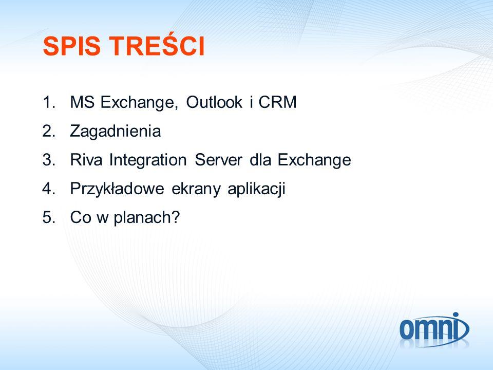 SPIS TREŚCI 1.MS Exchange, Outlook i CRM 2.Zagadnienia 3.Riva Integration Server dla Exchange 4.Przykładowe ekrany aplikacji 5.Co w planach?