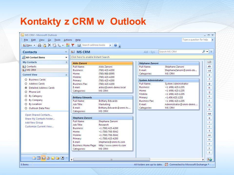 Kontakty z CRM w Outlook