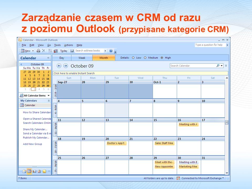 Zarządzanie czasem w CRM od razu z poziomu Outlook (przypisane kategorie CRM)