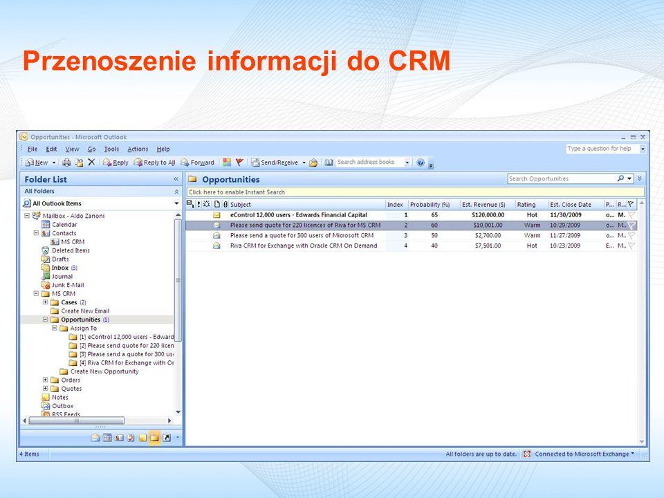 Przenoszenie informacji do CRM