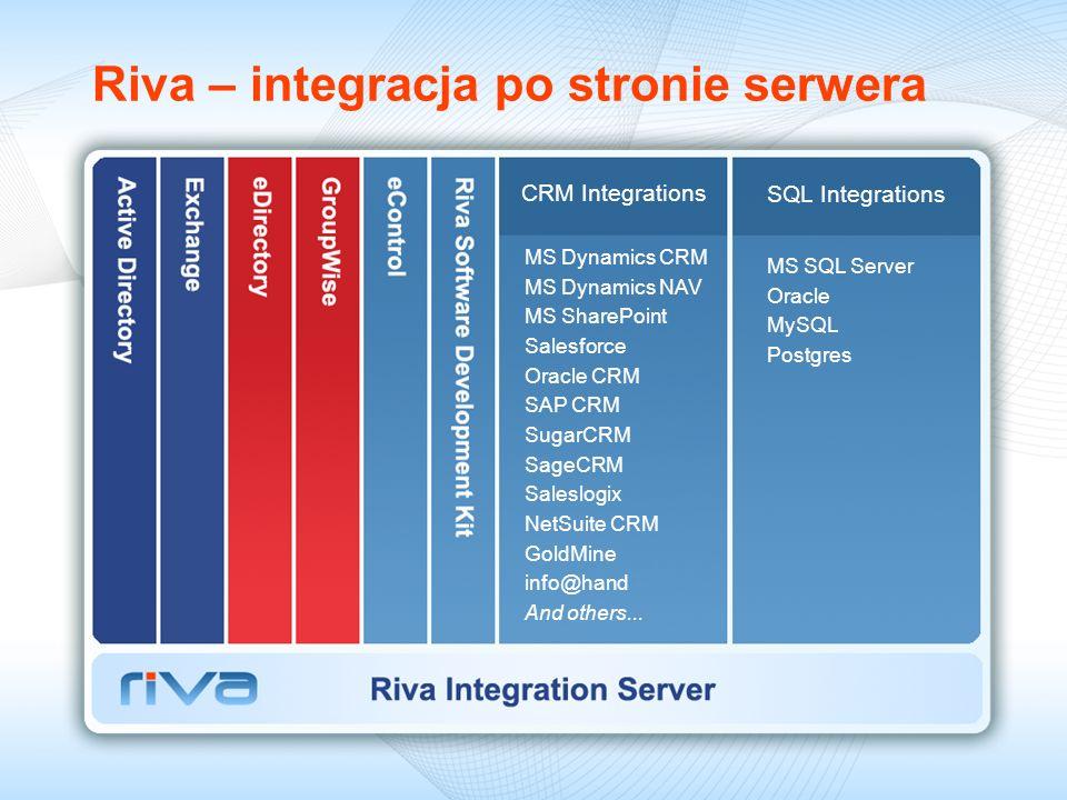 Riva – integracja po stronie serwera CRM Integrations SQL Integrations MS Dynamics CRM MS Dynamics NAV MS SharePoint Salesforce Oracle CRM SAP CRM Sug