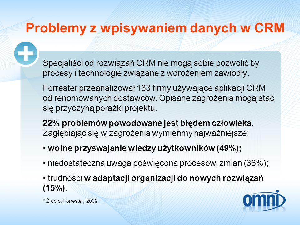 Problemy z wpisywaniem danych w CRM Specjaliści od rozwiązań CRM nie mogą sobie pozwolić by procesy i technologie związane z wdrożeniem zawiodły. Forr
