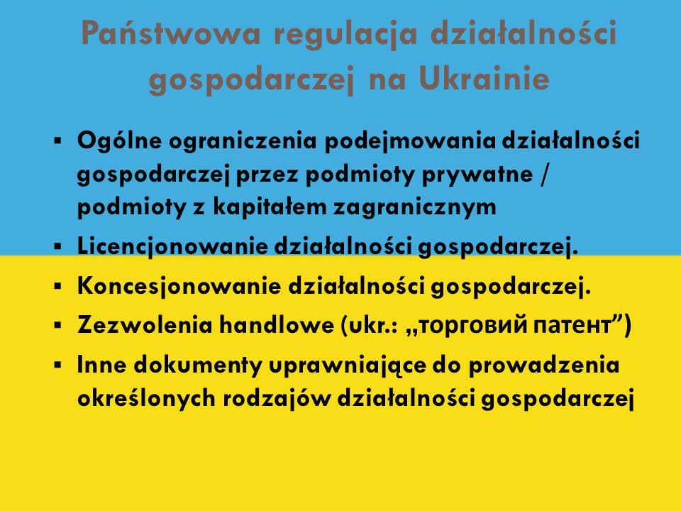 Państwowa regulacja działalności gospodarczej na Ukrainie Ogólne ograniczenia podejmowania działalności gospodarczej przez podmioty prywatne / podmiot