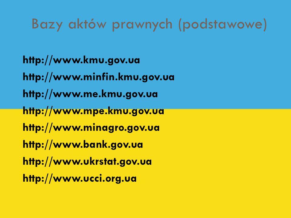 Bazy aktów prawnych (podstawowe) http://www.kmu.gov.ua http://www.minfin.kmu.gov.ua http://www.me.kmu.gov.ua http://www.mpe.kmu.gov.ua http://www.mina
