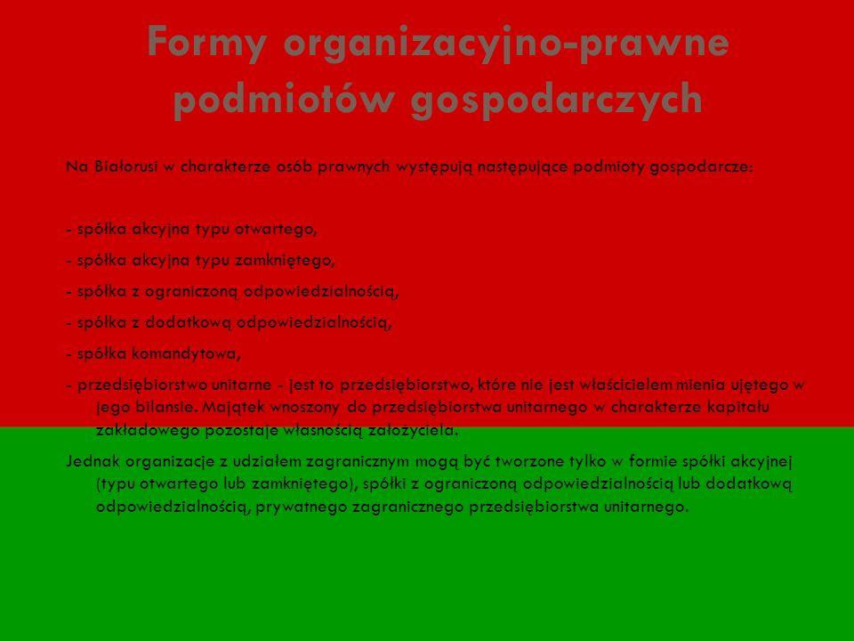 Formy organizacyjno-prawne podmiotów gospodarczych Na Białorusi w charakterze osób prawnych występują następujące podmioty gospodarcze: - spółka akcyj