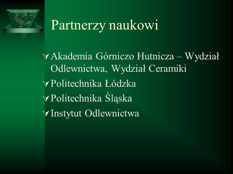 Partnerzy naukowi Akademia Górniczo Hutnicza – Wydział Odlewnictwa, Wydział Ceramiki Politechnika Łódzka Politechnika Śląska Instytut Odlewnictwa