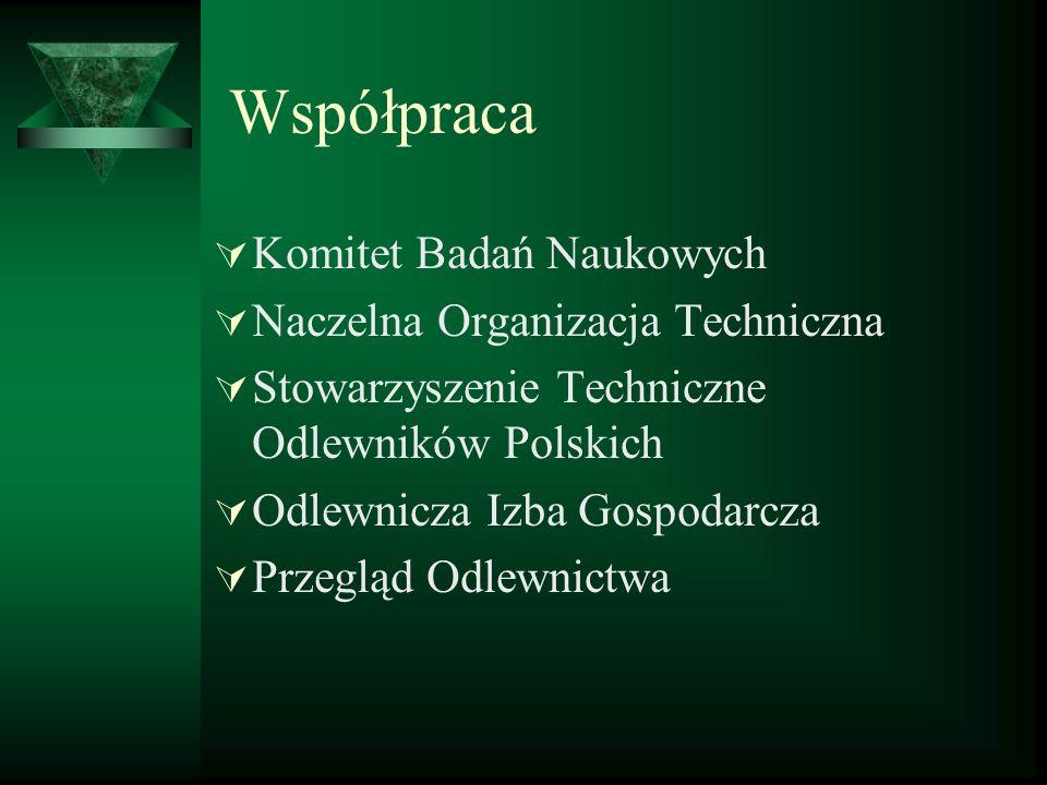 Współpraca Komitet Badań Naukowych Naczelna Organizacja Techniczna Stowarzyszenie Techniczne Odlewników Polskich Odlewnicza Izba Gospodarcza Przegląd