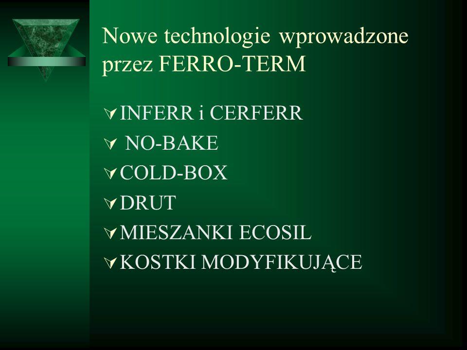 Nowe technologie wprowadzone przez FERRO-TERM INFERR i CERFERR NO-BAKE COLD-BOX DRUT MIESZANKI ECOSIL KOSTKI MODYFIKUJĄCE