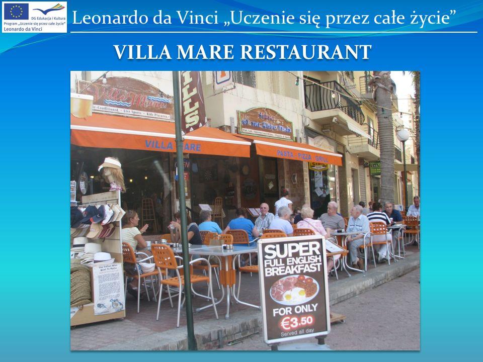 VILLA MARE RESTAURANT Leonardo da Vinci Uczenie się przez całe życie