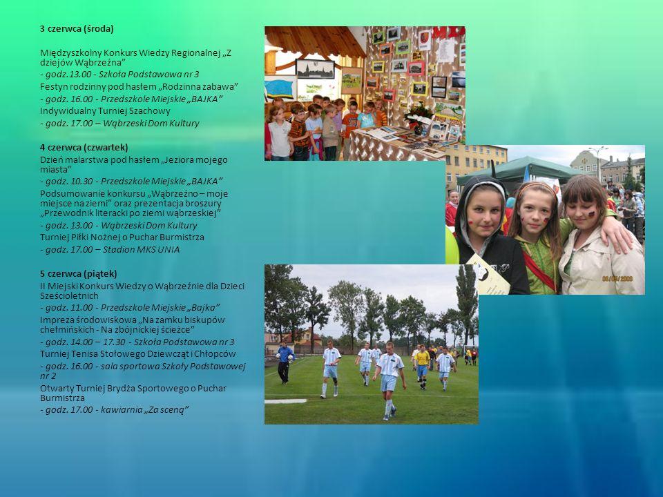 3 czerwca (środa) Międzyszkolny Konkurs Wiedzy Regionalnej Z dziejów Wąbrzeźna - godz.13.00 - Szkoła Podstawowa nr 3 Festyn rodzinny pod hasłem Rodzin
