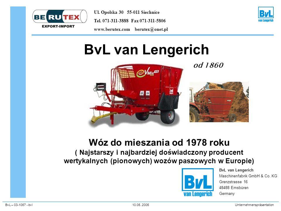 BvL – 03-1067 - bvl10.05..2005Unternehmenspräsentation BvL van Lengerich od 1860 BvL van Lengerich Maschinenfabrik GmbH & Co. KG Grenzstrasse 16 48488