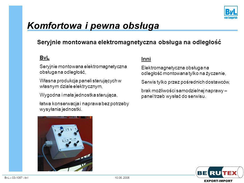 BvL – 03-1067 - bvl10.05..2005Unternehmenspräsentation Komfortowa i pewna obsługa Seryjnie montowana elektromagnetyczna obsługa na odległość BvL Seryj
