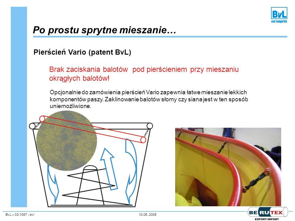BvL – 03-1067 - bvl10.05..2005Unternehmenspräsentation Po prostu sprytne mieszanie… Pierścień Vario (patent BvL) Brak zaciskania balotów pod pierścien