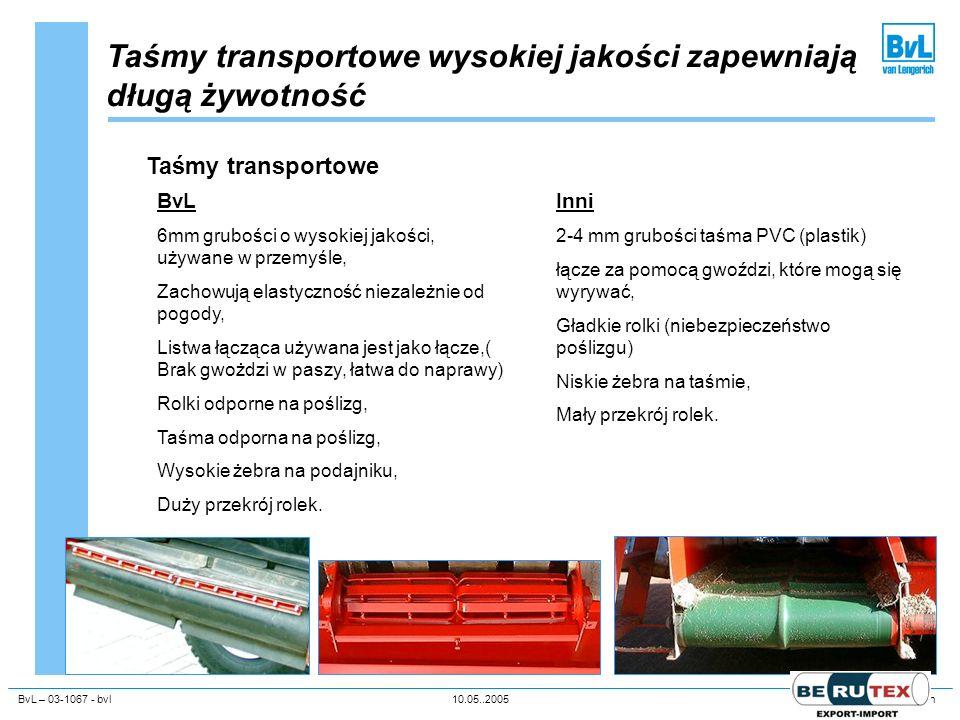 BvL – 03-1067 - bvl10.05..2005Unternehmenspräsentation Taśmy transportowe wysokiej jakości zapewniają długą żywotność Taśmy transportowe BvL 6mm grubo