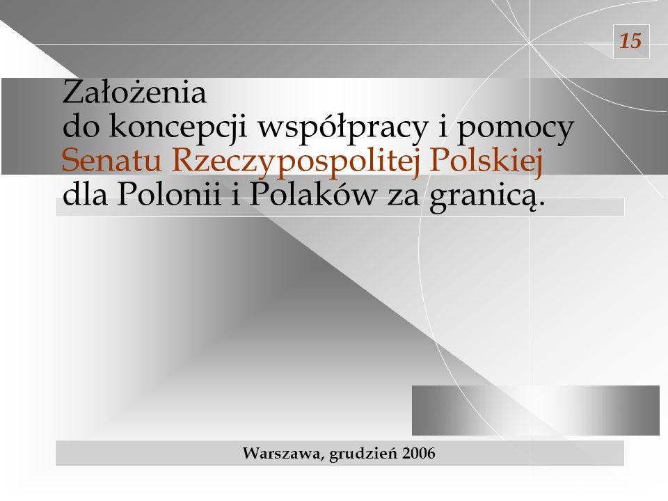 decyzje kierunkowe Prezydium Senatu; dotychczasowy dorobek Polonijnej Rady Konsultacyjnej przy Marszałku Senatu postulaty zgłaszane przez różne gremia krajowe i zagraniczne (fora, zjazdy); efekty dotychczasowych działań i doświadczenia wynikające z potrzeb zgłaszanych przez organizacje składające wnioski; wyniki kontroli NIK i audytu wewnętrznego; ustalenia zawarte w dokumentach i opracowaniach rządowych; wnioski wynikające z bezpośrednich spotkań, rozmów i wizyt zagranicznych; informacje płynące z placówek dyplomatycznych; Przy opracowywaniu Założeń do koncepcji współpracy i pomocy Senatu Rzeczypospolitej Polskiej dla Polonii i Polaków za granicą wzięto pod uwagę m.