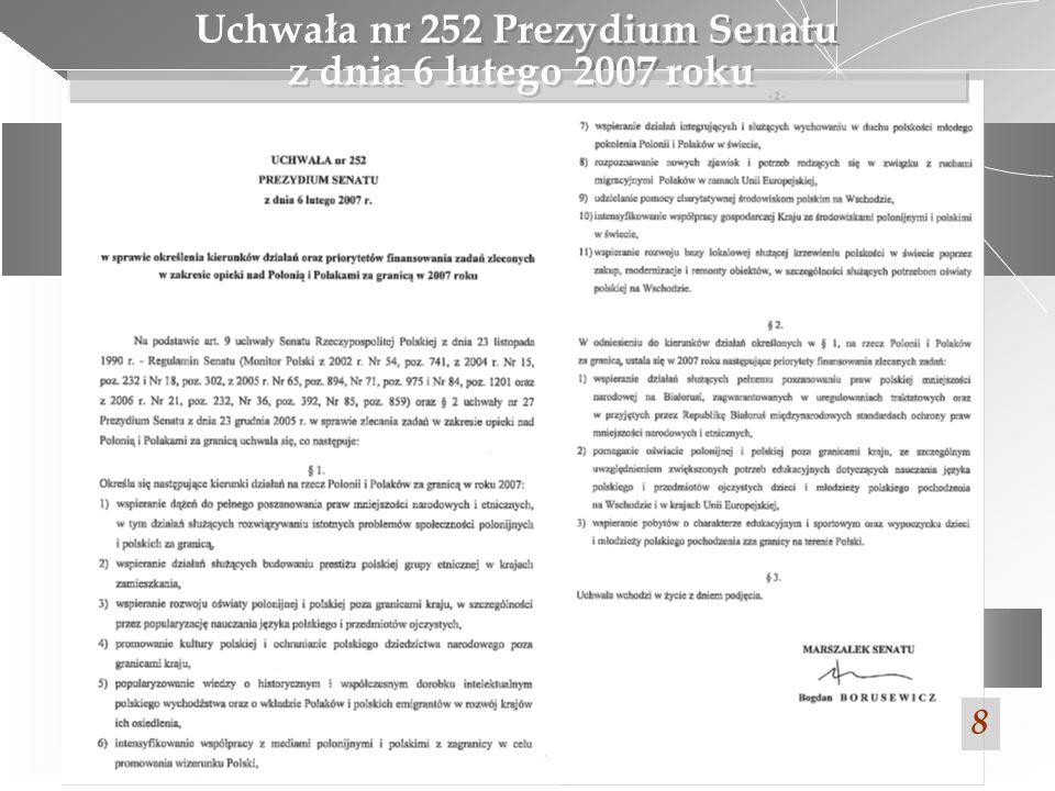 Uchwała nr 252 Prezydium Senatu z dnia 6 lutego 2007 roku 8