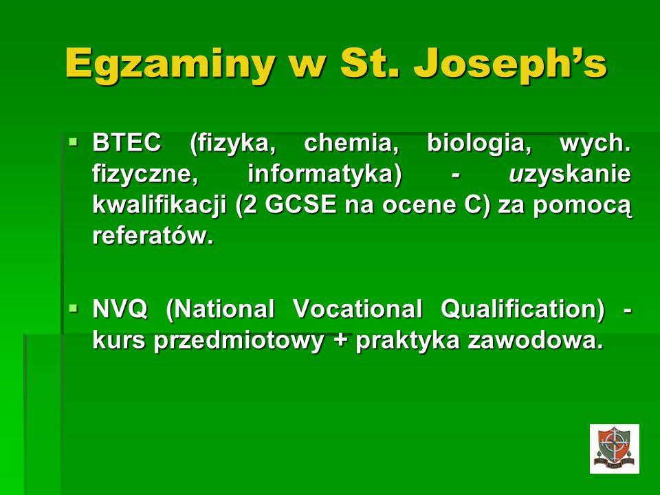 Egzaminy w St. Josephs BTEC (fizyka, chemia, biologia, wych. fizyczne, informatyka) - uzyskanie kwalifikacji (2 GCSE na ocene C) za pomocą referatów.