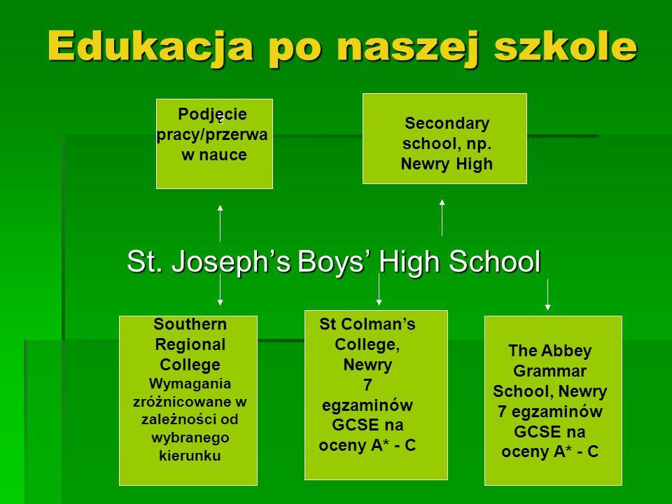 Edukacja po naszej szkole St. Josephs Boys High School Southern Regional College Wymagania zróżnicowane w zależności od wybranego kierunku St Colmans