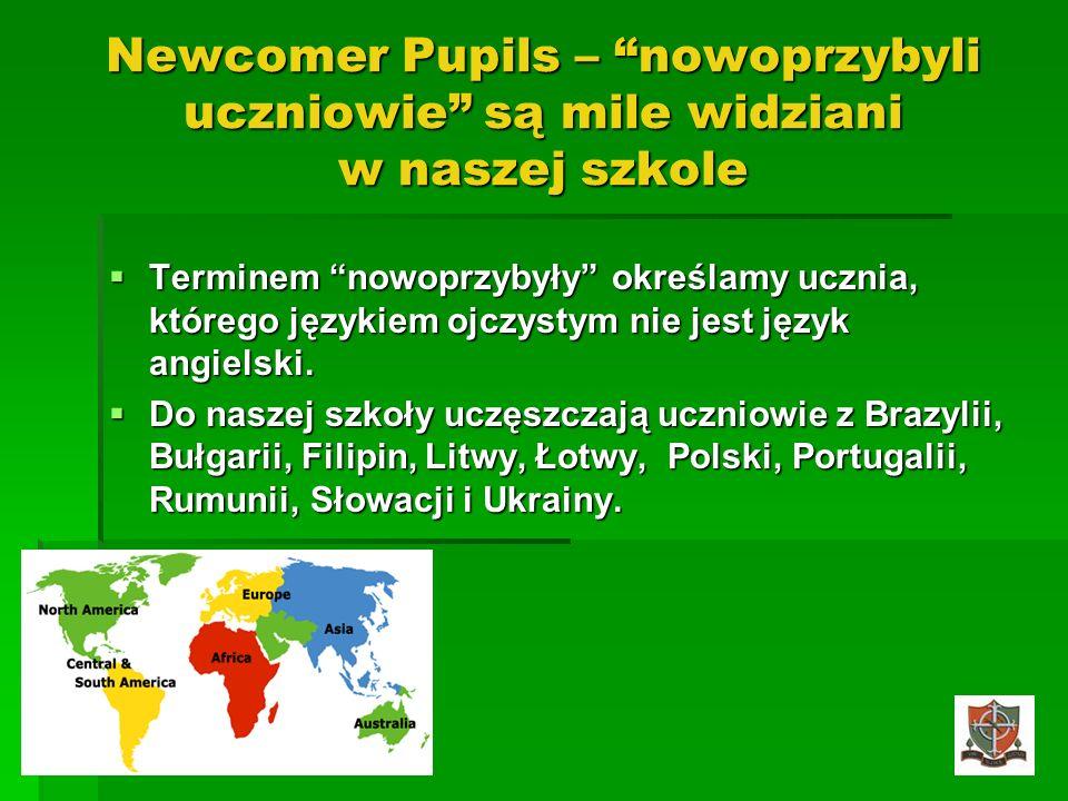 Newcomer Pupils – nowoprzybyli uczniowie są mile widziani w naszej szkole Terminem nowoprzybyły określamy ucznia, którego językiem ojczystym nie jest