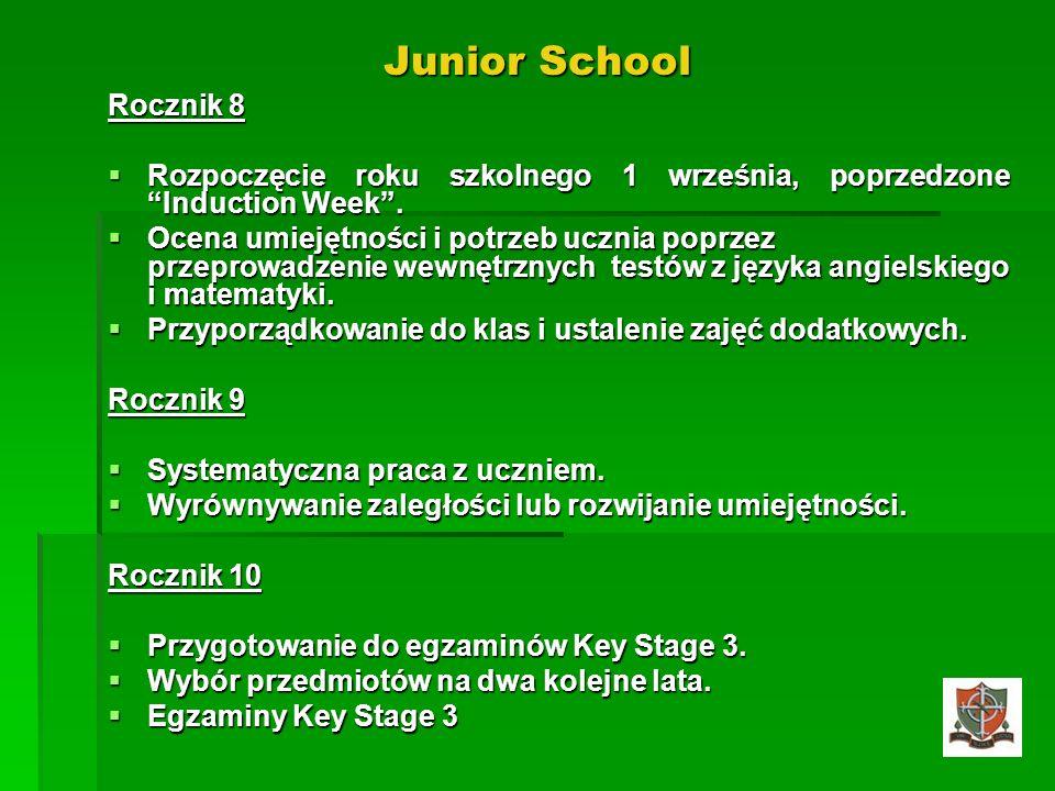 Junior School Rocznik 8 Rozpoczęcie roku szkolnego 1 września, poprzedzone Induction Week. Rozpoczęcie roku szkolnego 1 września, poprzedzone Inductio