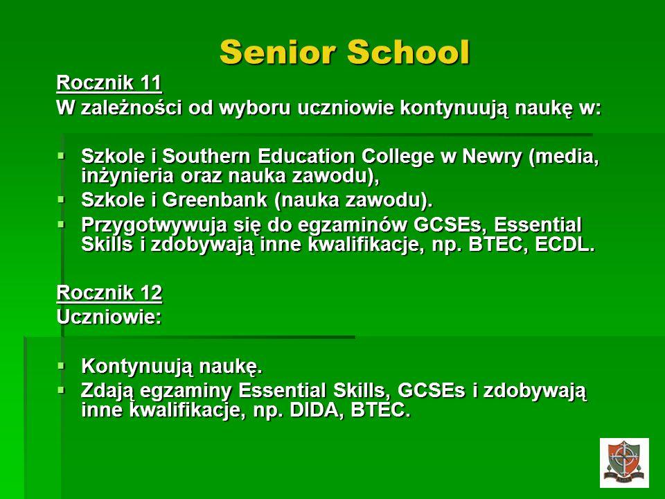 Senior School Rocznik 11 W zależności od wyboru uczniowie kontynuują naukę w: Szkole i Southern Education College w Newry (media, inżynieria oraz nauk