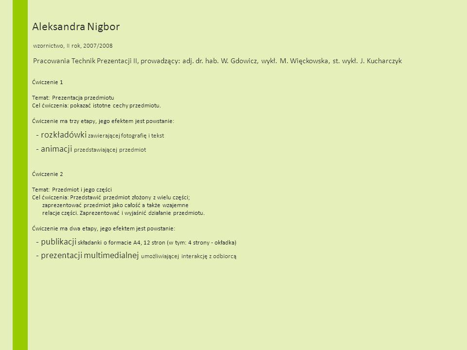 Aleksandra Nigbor wzornictwo, II rok, 2007/2008 Ćwiczenie 1 Temat: Prezentacja przedmiotu Cel ćwiczenia: pokazać istotne cechy przedmiotu. Ćwiczenie m