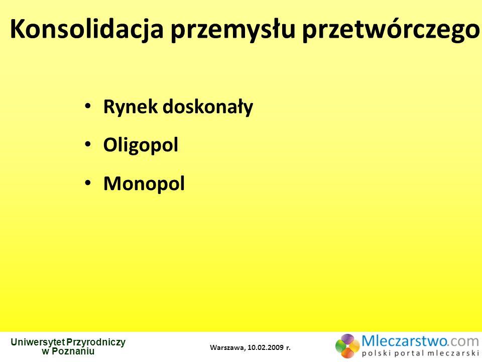 Uniwersytet Przyrodniczy w Poznaniu Warszawa, 10.02.2009 r. Konsolidacja przemysłu przetwórczego Rynek doskonały Oligopol Monopol