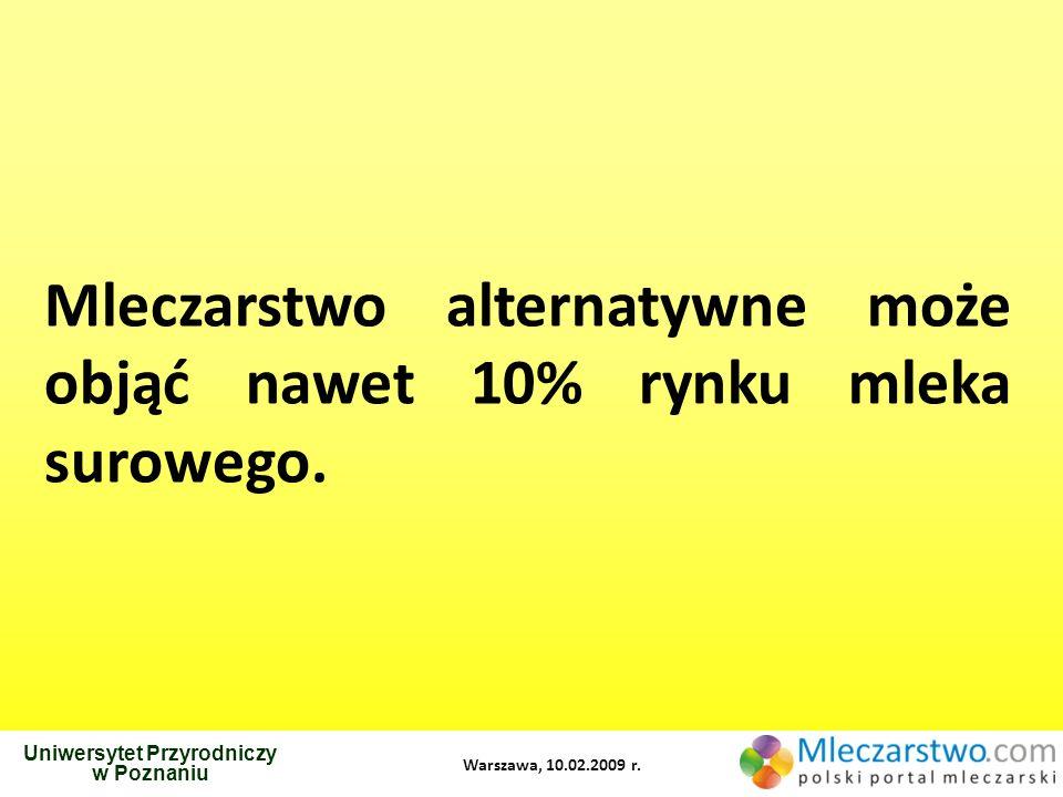 Uniwersytet Przyrodniczy w Poznaniu Warszawa, 10.02.2009 r. Mleczarstwo alternatywne może objąć nawet 10% rynku mleka surowego.