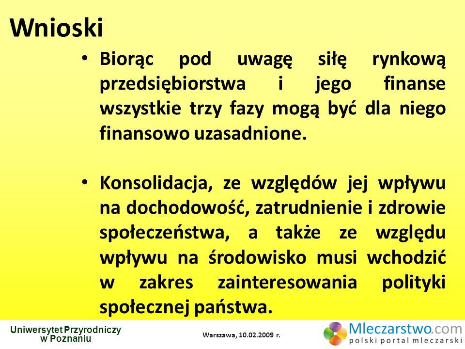 Uniwersytet Przyrodniczy w Poznaniu Warszawa, 10.02.2009 r. Wnioski Biorąc pod uwagę siłę rynkową przedsiębiorstwa i jego finanse wszystkie trzy fazy