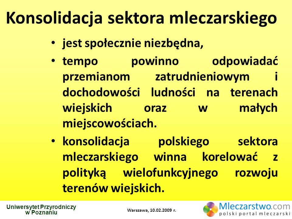 Uniwersytet Przyrodniczy w Poznaniu Warszawa, 10.02.2009 r. Konsolidacja sektora mleczarskiego jest społecznie niezbędna, tempo powinno odpowiadać prz
