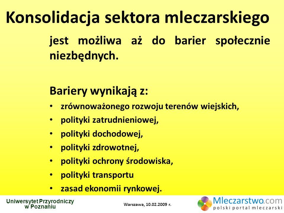 Uniwersytet Przyrodniczy w Poznaniu Warszawa, 10.02.2009 r. Konsolidacja sektora mleczarskiego jest możliwa aż do barier społecznie niezbędnych. Barie
