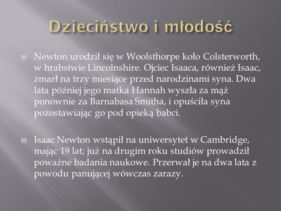 Newton urodził się w Woolsthorpe koło Colsterworth, w hrabstwie Lincolnshire. Ojciec Isaaca, również Isaac, zmarł na trzy miesiące przed narodzinami s