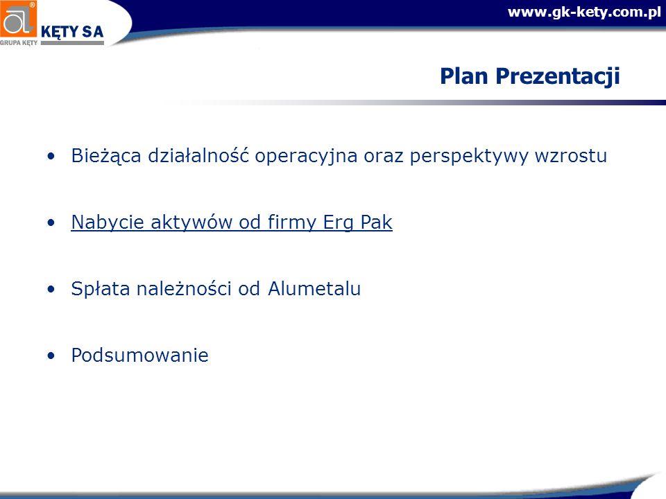 www.gk-kety.com.pl Plan Prezentacji Bieżąca działalność operacyjna oraz perspektywy wzrostu Nabycie aktywów od firmy Erg Pak Spłata należności od Alum