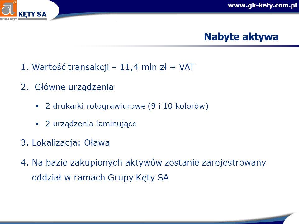 www.gk-kety.com.pl Nabyte aktywa 1.Wartość transakcji – 11,4 mln zł + VAT 2. Główne urządzenia 2 drukarki rotograwiurowe (9 i 10 kolorów) 2 urządzenia